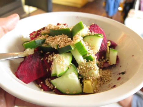 darling house cucmber raw beet and sesame salad