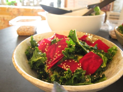 darling house raw beet avocado kale and sesame seed salad