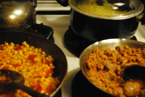 Corn & Peppers from Winter Share. Ground Beef from Northwind Farm Meat SHare